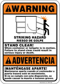 "5 x 7"" Bilingual Warning Stand Clear When Container or Tailgate is in Motion Decal"