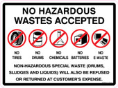 """9 x 12"""" No Hazardous Wastes Accepted Tires Drums Chemicals Batteries E-Waste Sticker Decal"""