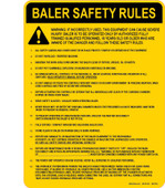 "9 x 12"" Baler Safety Rules Decal"