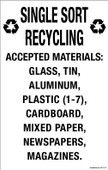 "7 x 11"" Single Sort Recycling Accepted Materials Decal"