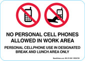 "5 x 7"" No Personal Cell Phones Allowed In Work Area Decal"