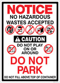 "13 x 18"" Notice  & Caution No Hazardous Wastes Accepted Multi Message Sticker Decal"