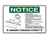 "6 x 9"" Notice Arrows Towards Street Sticker Decal"