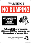 "13 x 18"" Warning No Dumping 24 Hour Video Surveillance"