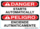 "5 x 7"" Danger Starts Automatically Bilingual Decal"