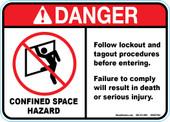 "5 x 7"" Danger Confined Space Hazard Decal"