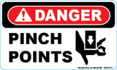 "3 x 5"" Danger Pinch Points  Decal"