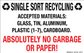 "7 x 11"" Single Sort Recycling  No Garbage or Paper Decal"