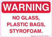 "5 x 7""  Warning No Glass, Plastic Bags, Styrofoam Decal"