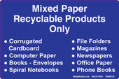 "4 x 6"" Mixed Paper Recyclable Products Only  Decal."