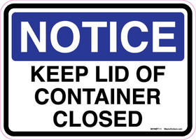 Notice Decal Keep Lid Of Container Closed Sticker