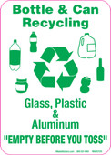 "5 x 7"" Bottle & Can Recycling. Glass, Plastic & Aluminum Empty Before You Toss Sticker Decal."