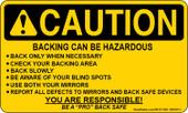 "3 x 5"" Caution Backing Can Be Hazardous Sticker"