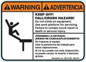 "5 x 7"" Bilingual Warning Keep Off! Fall/Crush Hazard Decal"