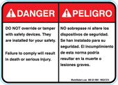 "5 x 7""  Bilingual Danger Do Not Override Or Tamper With Safety Devices Decal"