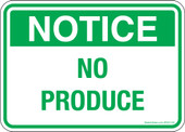 "5 x 7""  Notice No Produce Decal"