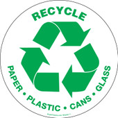 "6"" circle recycle paper plastic cans glass sticker"