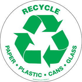 """6"""" circle recycle paper plastic cans glass sticker"""
