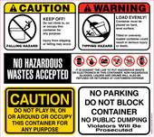 "12.5 X 14"" Caution, Warning, No Parking, No Hazardous Wastes Accepted, Do Not Block Container Decal"