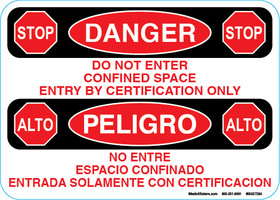 Danger Confined Space Do Not Enter Decal