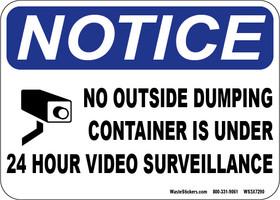Notice container under video camera surveillance sticker.