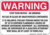 "5 x 7"" Warning Stop Your Motor - No Smoking, Despensing Equipment Decal"