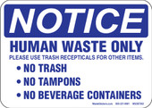 "5 x 7"" Notice Human Waste Only Decal"