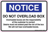 """6 x 9"""" Notice Do Not Overload Box Decal"""