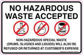 "6 X 9"" No Hazardous Waste Accepted Decal"