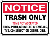 Trash Only Decal Notice