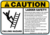 "5 x 7""Caution Falling Hazard, Ladder Safety!"