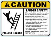 """5 x 7""""Caution Falling Hazard, Ladder Safety!"""