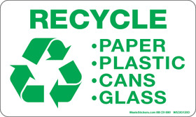 Recycle, Paper, Plastic, Cans, Glass decals