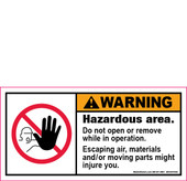 "2 x 4"" Warning, Hazardous area decal"