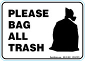 "5"" x 7"" Please Bag All Trash Decal."