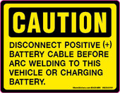 "3.5 x 4.5"" Caution Disconnect Battery Cable Decal"