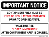 "9 x 12"" Important Notice, Containment Area Must Be Free of Regulated Substances, Decal"