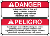 "5 x 7"" Danger Keep Container Long Sills Engaged (Bilingual) Decal"