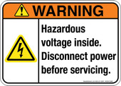 "5 x 7"" Warning Hazardous Voltage Inside, Disconnect Power Before Servicing, Decal"