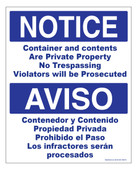 "8 x 10"" Notice / Aviso Container and Contents are Private Property, Bilingual Decal"