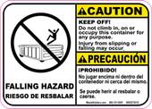 "5 x 7"" Caution Bilingual Falling Hazard Roll-Off Decal"