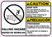 "5 x 7"" Caution Bilingual Falling Hazard Roll-Off Decal"