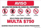 """11 x 16"""" No Llene Por Encima Del Borde Del Contenedor $750 Fine"""