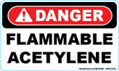 "3 x 5"" Danger Flammable Acetylene Decal"