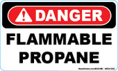 "3 x 5"" Danger Flammable Propane Decal"