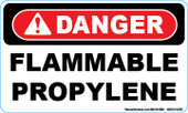 "3 x 5"" Danger Flammable Propylene Decal"