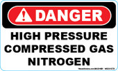 "3 x 5"" Danger High Pressure Compressed Gas Nitrogen Decal"