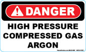 "3 x 5"" Danger High Pressure Compressed Gas Argon Decal"