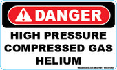 "3 x 5"" Danger High Pressure Compressed Gas Helium Decal"