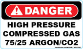 "3 x 5"" Danger High Pressure Compressed Gas 75/25 Argon/CO2 Decal"